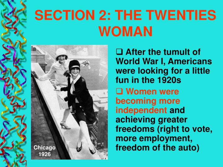 SECTION 2: THE TWENTIES WOMAN