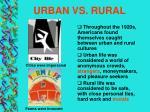 urban vs rural