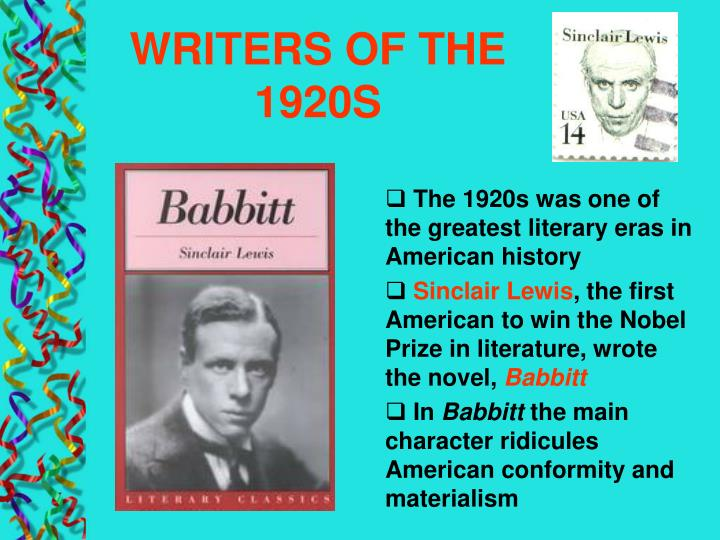 WRITERS OF THE 1920S