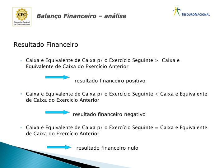 Balanço Financeiro – análise