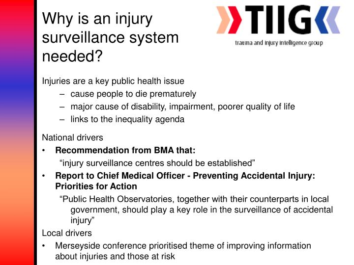 Why is an injury surveillance system needed?