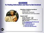 guides to finding information and how to get involved
