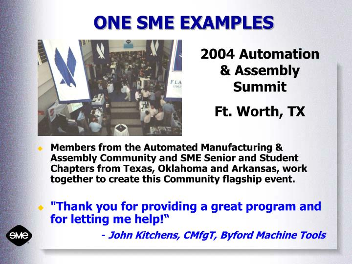 ONE SME EXAMPLES