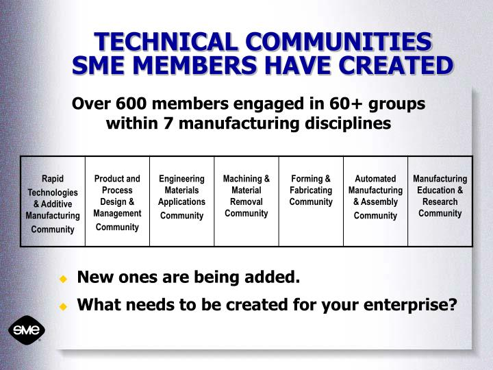 TECHNICAL COMMUNITIES