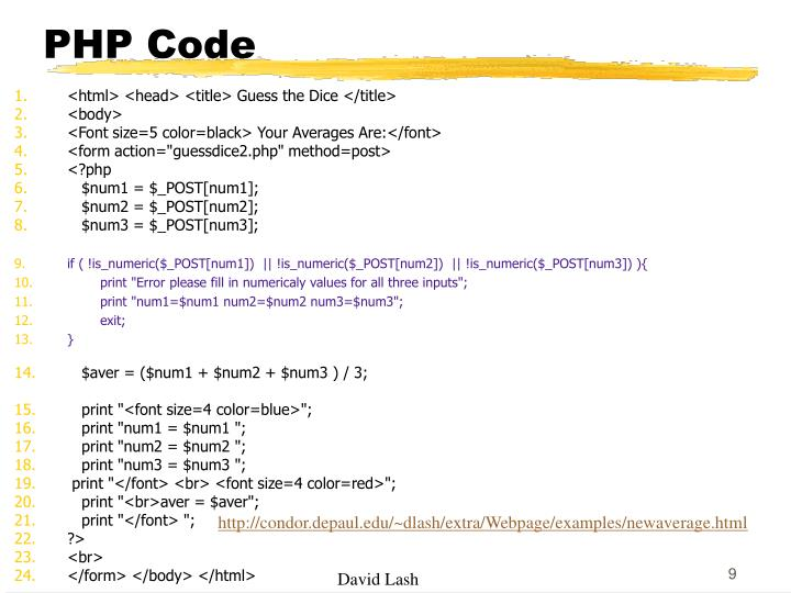 PHP Code