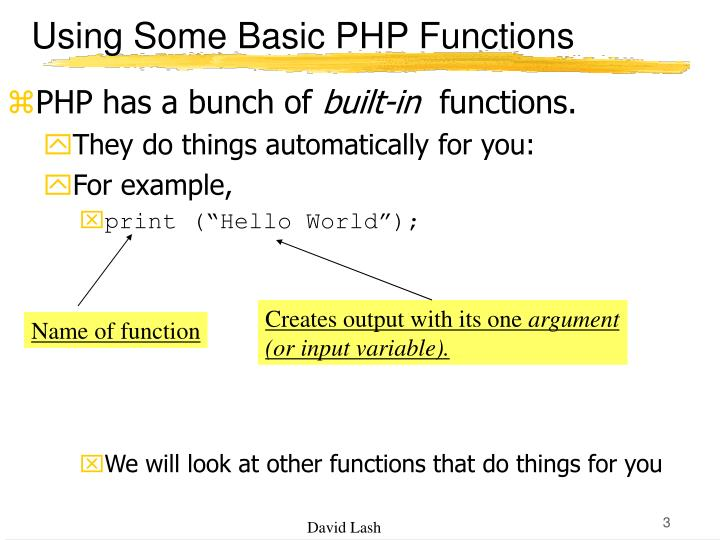 Using some basic php functions