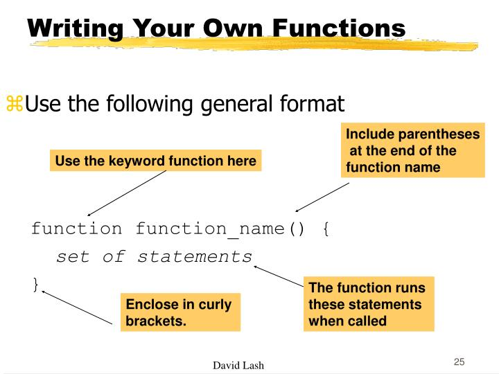 Writing Your Own Functions
