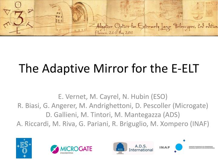 The adaptive mirror for the e elt