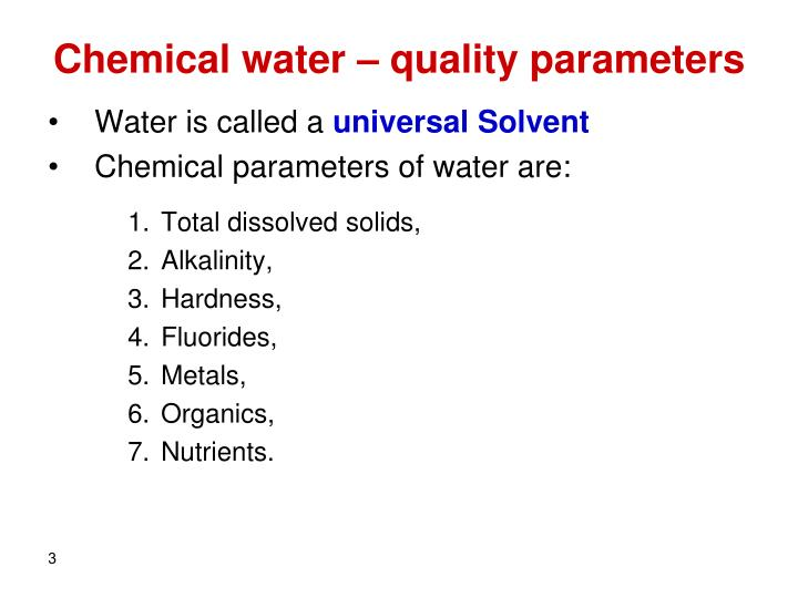 Chemical water – quality parameters