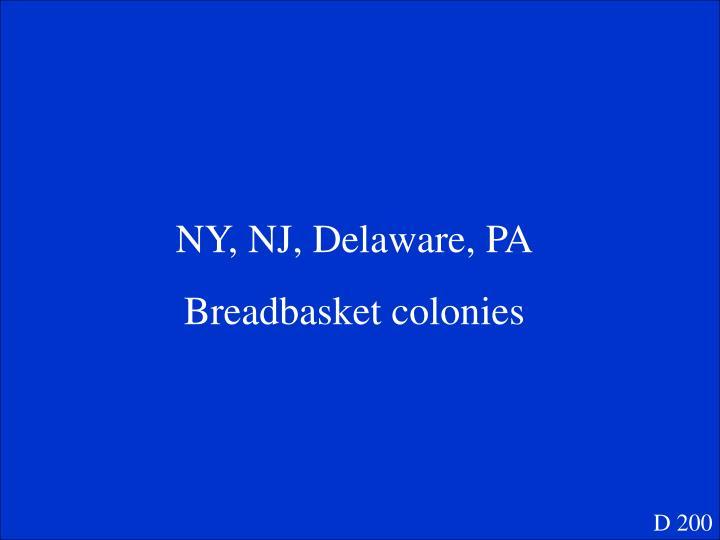 NY, NJ, Delaware, PA