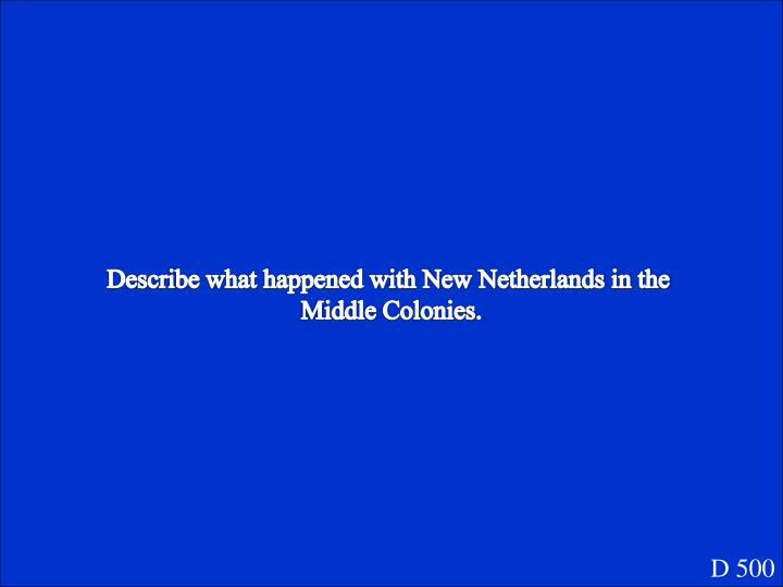 Describe what happened with New Netherlands in the