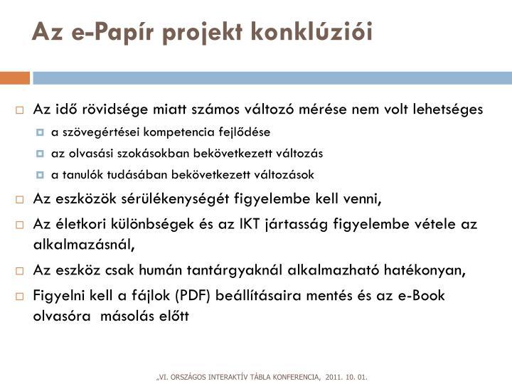 Az e-Papír projekt konklúziói