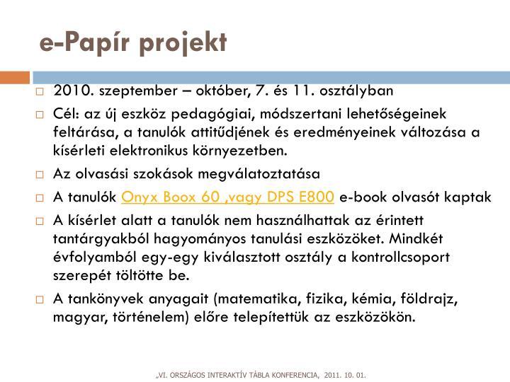 e-Papír projekt
