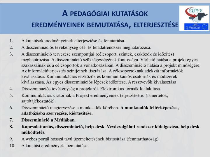 A pedagógiai kutatások