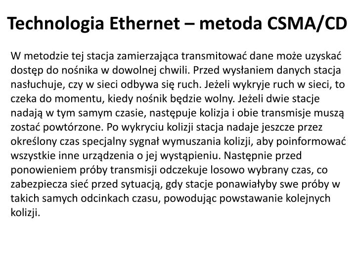 Technologia Ethernet – metoda CSMA/CD