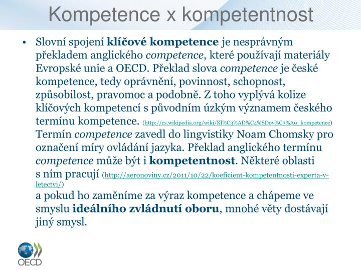 Kompetence x kompetentnost