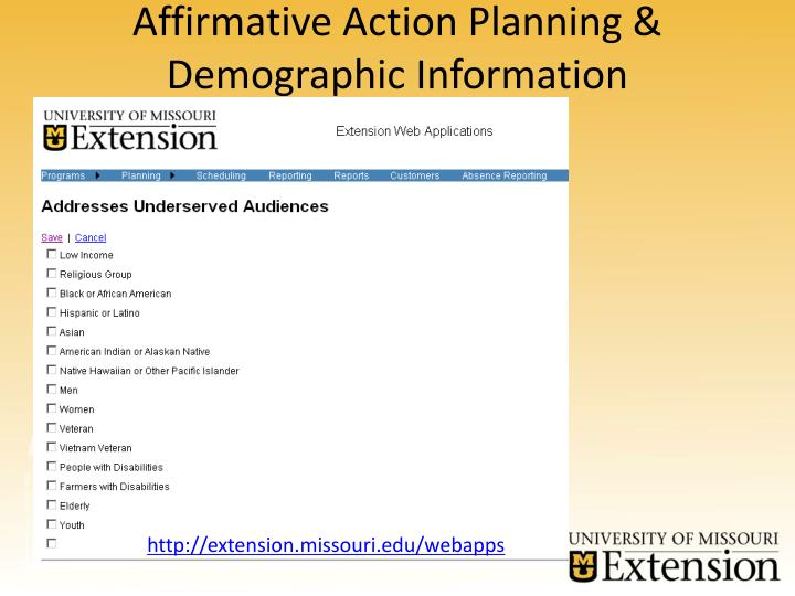 Affirmative Action Planning & Demographic Information