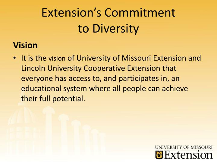 Extension s commitment to diversity