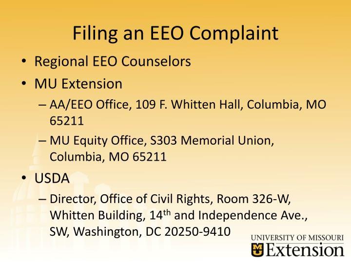 Filing an EEO Complaint