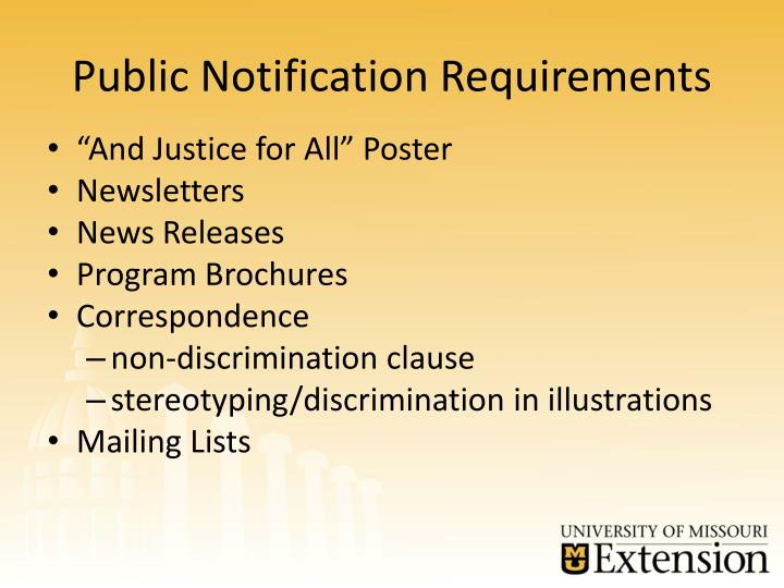 Public Notification Requirements
