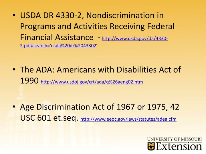 USDA DR 4330-2, Nondiscrimination in Programs and Activities Receiving Federal Financial Assistance  -