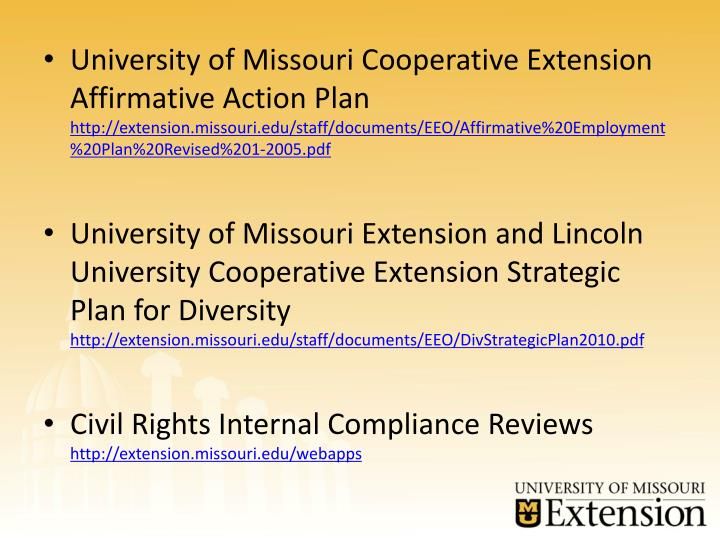 University of Missouri Cooperative Extension Affirmative Action Plan