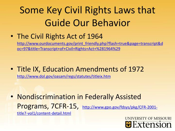 Some Key Civil Rights Laws that