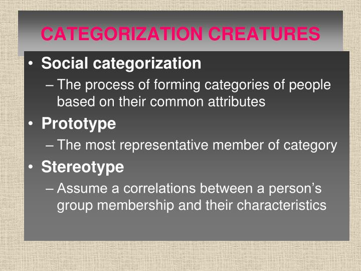 CATEGORIZATION CREATURES