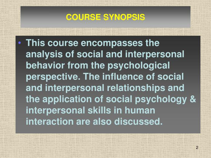 COURSE SYNOPSIS