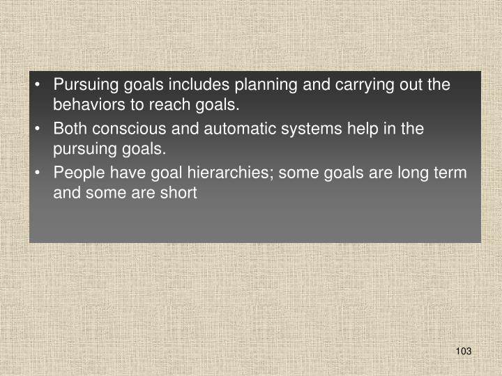 Pursuing goals includes planning and carrying out the behaviors to reach goals.