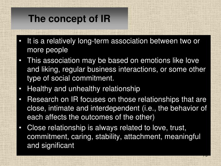 The concept of IR