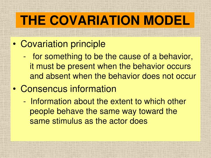 THE COVARIATION MODEL
