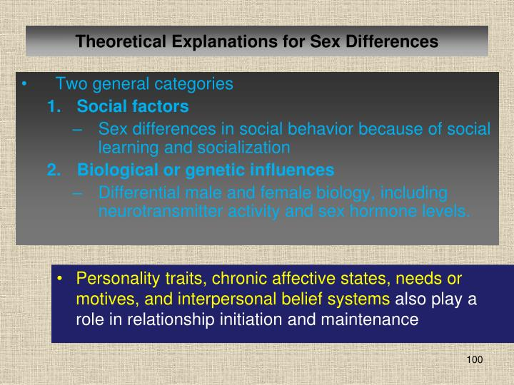 Theoretical Explanations for Sex Differences