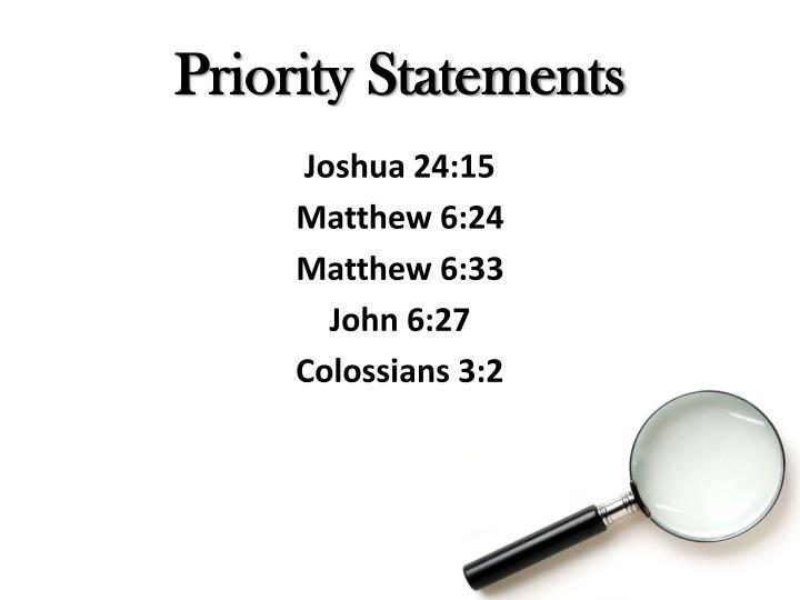 Priority Statements