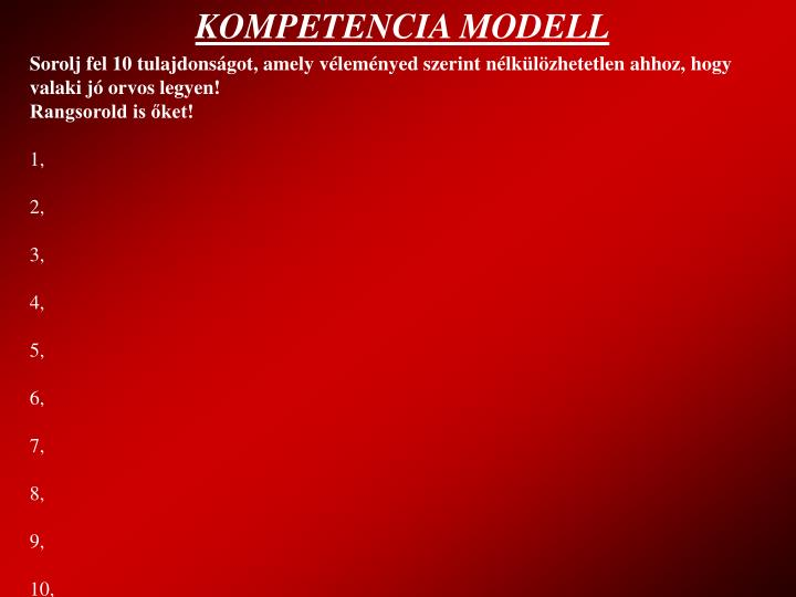 KOMPETENCIA MODELL
