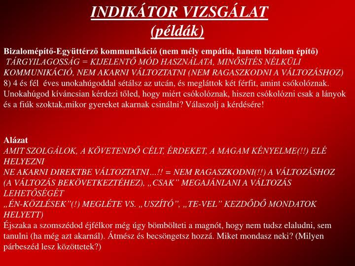 INDIKÁTOR VIZSGÁLAT