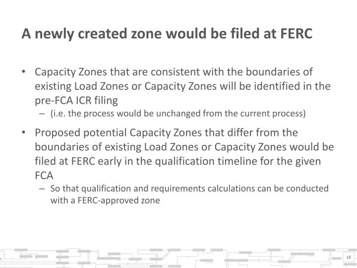 A newly created zone would be filed at FERC