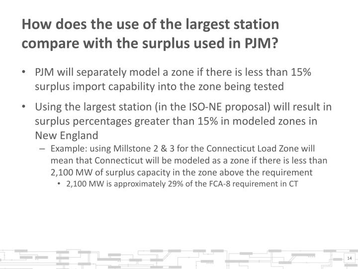 How does the use of the largest station compare with the surplus used in PJM?
