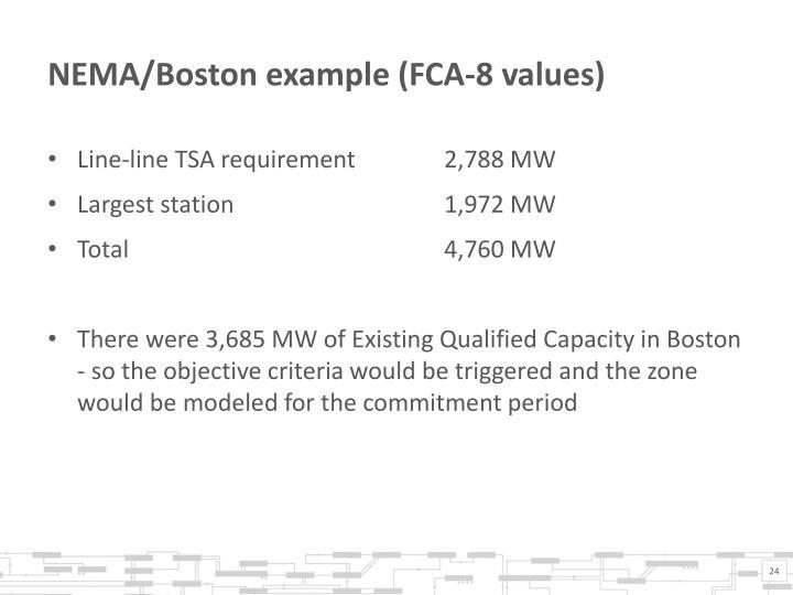NEMA/Boston example (FCA-8 values)