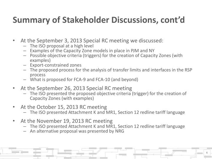 Summary of Stakeholder Discussions, cont'd