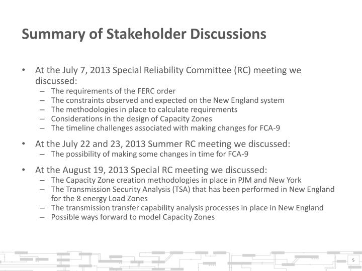 Summary of Stakeholder Discussions