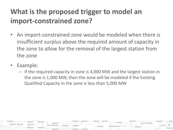 What is the proposed trigger to model an import-constrained zone?