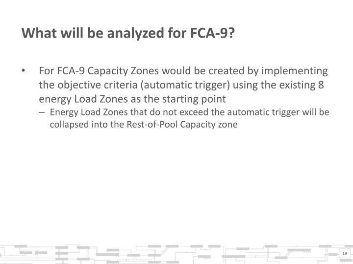 What will be analyzed for FCA-9?