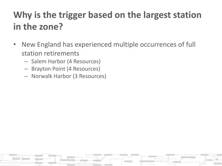 Why is the trigger based on the largest station in the zone?