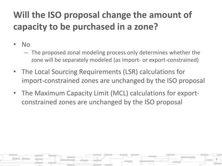 Will the ISO proposal change the amount of capacity to be purchased in a zone?