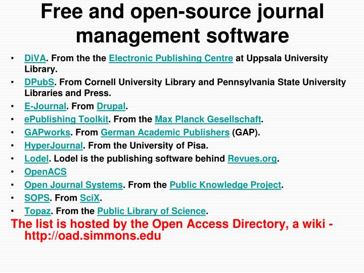 Free and open-source journal management software