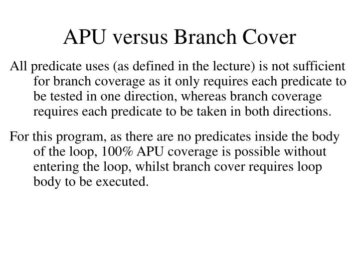 APU versus Branch Cover