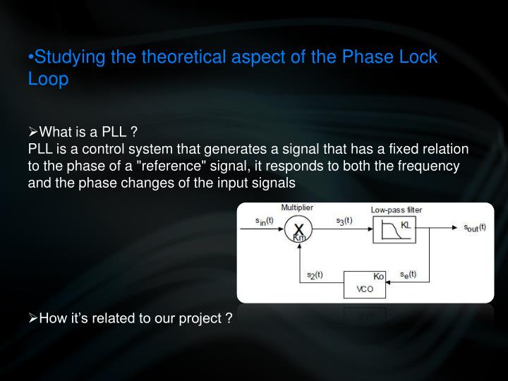 Studying the theoretical aspect of the Phase Lock Loop