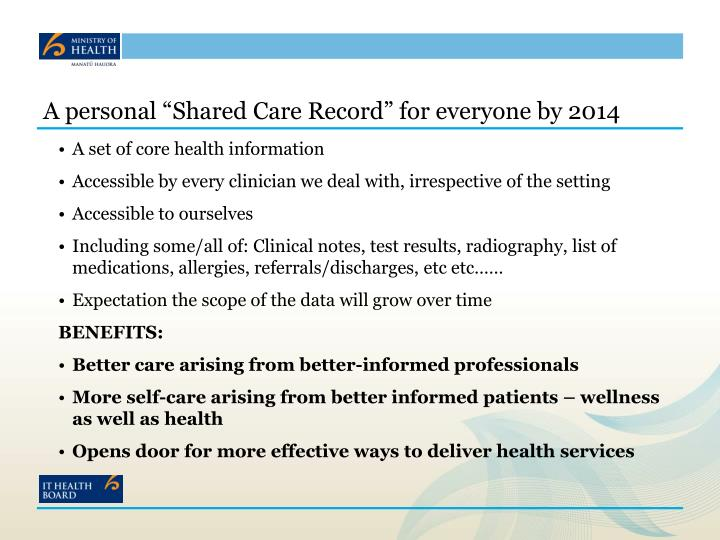 "A personal ""Shared Care Record"" for everyone by 2014"