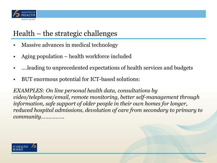 Health the strategic challenges